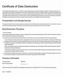 Certificate of destruction templates 10 free pdf format for Certificate of data destruction template
