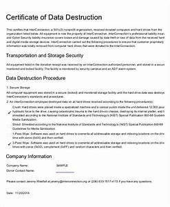 Certificate of destruction templates 10 free pdf format for Certificate of data destruction template