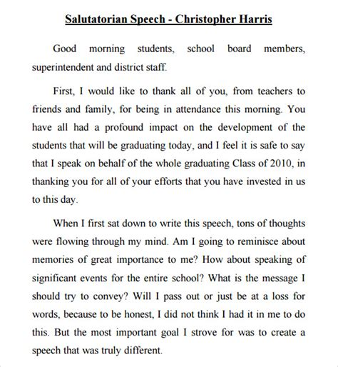 informative speech exles for highschool students 9 salutatorian speech sles pdf sle templates