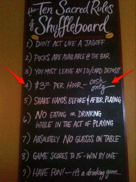 mission bar declares shuffleboard  cost money