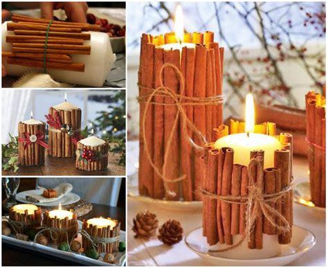 wonderful diy christmas candles  pine leaf cinnamon
