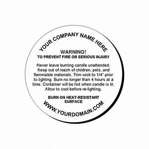 details about 24 personalized candle warning round glossy With custom candle warning labels
