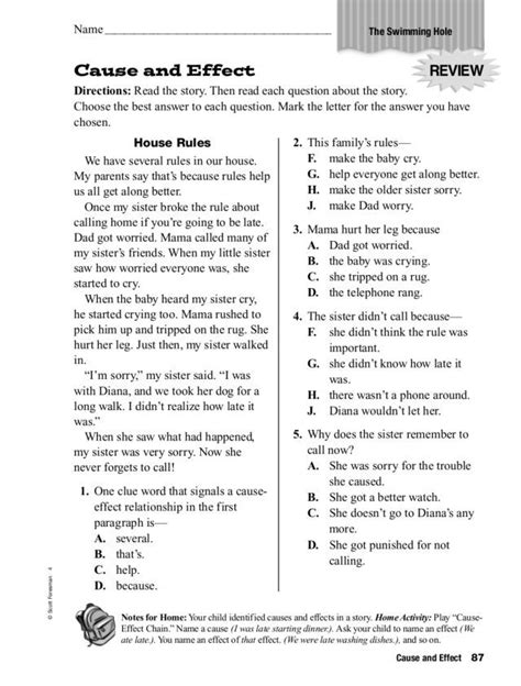 cause and effect relationships worksheet lesson planet ri 4 5 pinterest cause and effect