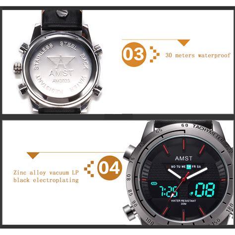 Jam Tangan Guess Kulit Black amst jam tangan kulit analog digital pria am3023 black