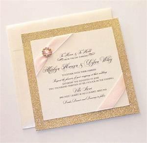 glitter wedding invitation vintage wedding invitation With red and gold glitter wedding invitations