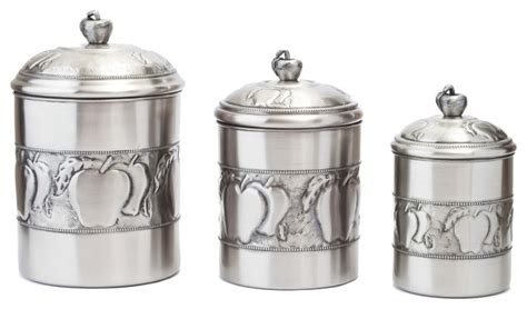 3 Apple Canister Set With Fresh Seal Covers