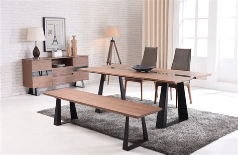 walnut dining bench modern walnut and glass dining table on black mate legs 3338