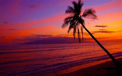 Sunset Hawaii Hawaiian Wallpapers Desktop Sunsets Beaches