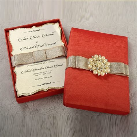 couture wedding invitation box  pearl brooch