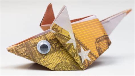 geldgeschenk idee maus falten origami anleitung