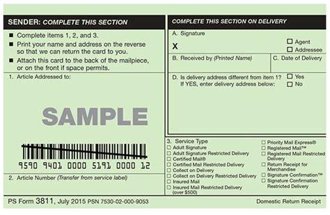 docsmit certified mail electronic return receipt versus green card