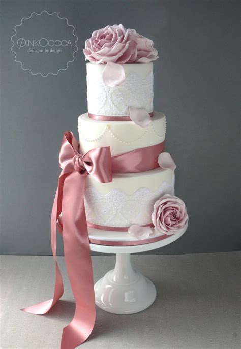 dusky pink roses lace  pearls wedding cake pink cocoa