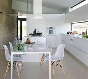 Cocina, Moderna, -, Blanco, -, Peque, U00f1as, -, Con, Isla