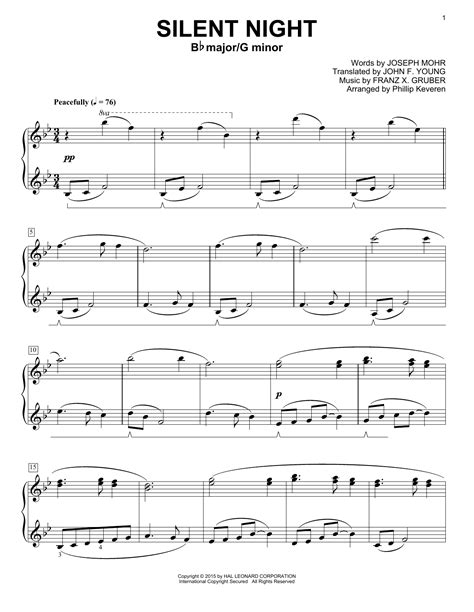 The sheet music below is a low resolution image of the 1st page. Silent Night | Sheet Music Direct
