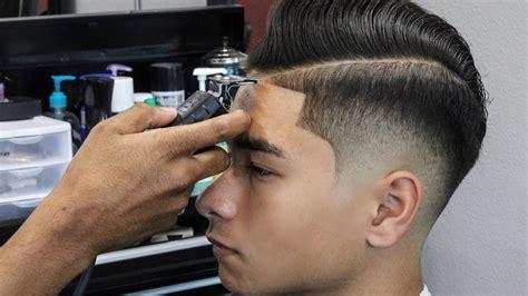 barber tutorial combover     top  fade shear work youtube