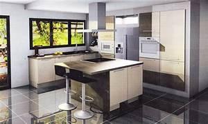 Idee amenagement cuisine salon salle a manger cuisine en for Idee deco cuisine avec meuble salle a manger complete moderne pas cher