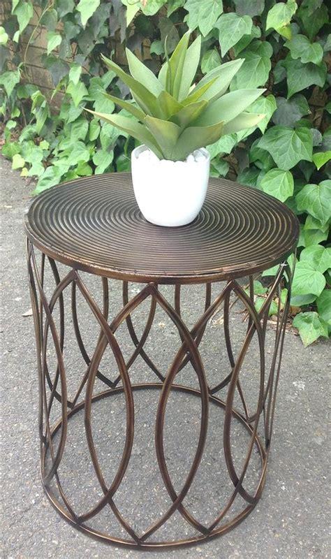 metal drum side table new industrial retro bronze metal drum round side table