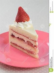 Slice Piece Of Strawberry Shortcake On Pink Dish Stock ...