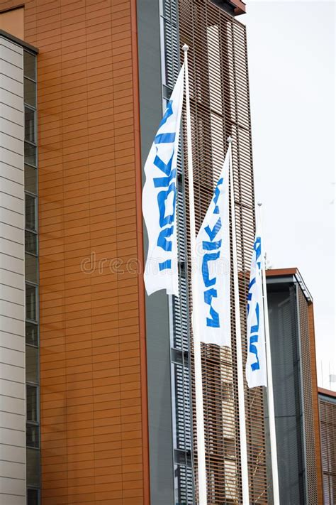 nokia flags wave   wind editorial stock photo image