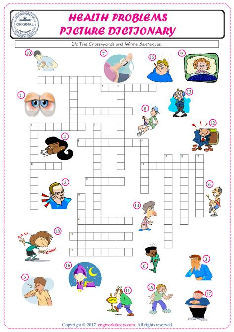 Complete The Crossword Using The Health Problems Of Pictures