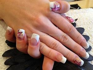 After - pink and white sculptured acrylic nails with pink ...