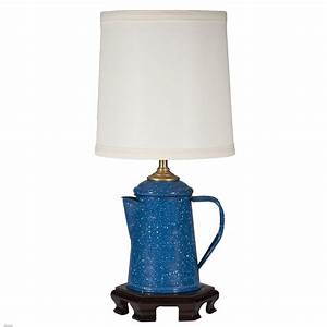 Vintage blue metal coffee pot lamp for Table lamp in kitchen