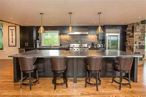 Modern Kitchen In Dark Color Scheme With Glass Door ...