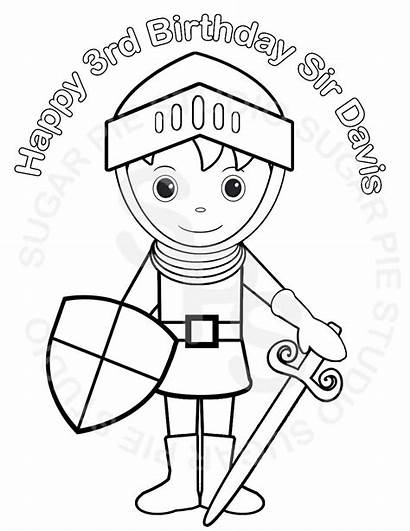 Printable Knight Prince Coloring Personalized Princess Birthday
