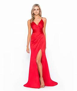 Bariano Red Silk Gown   Alila Boutique