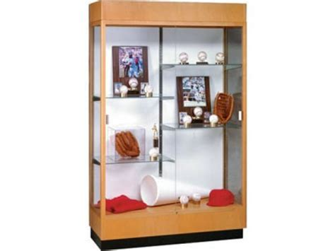 """Heritage Trophy Cabinet in Oak with Mirror 48""""Wx70""""H"""