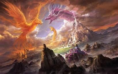 Dragon Phoenix Fantasy Desktop Wallpapers Backgrounds Mobile