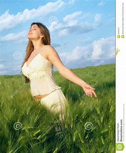 Girl in field stock photo. Image of hair, outdoors, arms ...