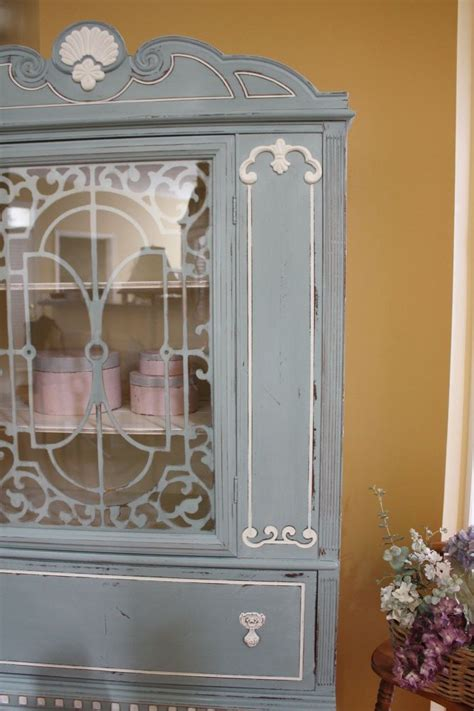 blue white vintage china cabinet chalk paint painted furniture repurposing upcyclingjpgsize