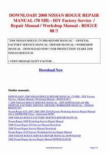 2008 Nissan Rogue Repair Manual 70 Mb
