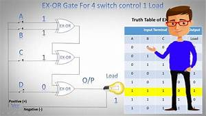 Four Way Stop Light Four Switch To 1 Light Logic Gate Control Circuit 4 Way