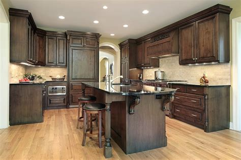 glass top kitchen island cream back splash with brown wooden cabinet combined with brown kitchen island also glass top