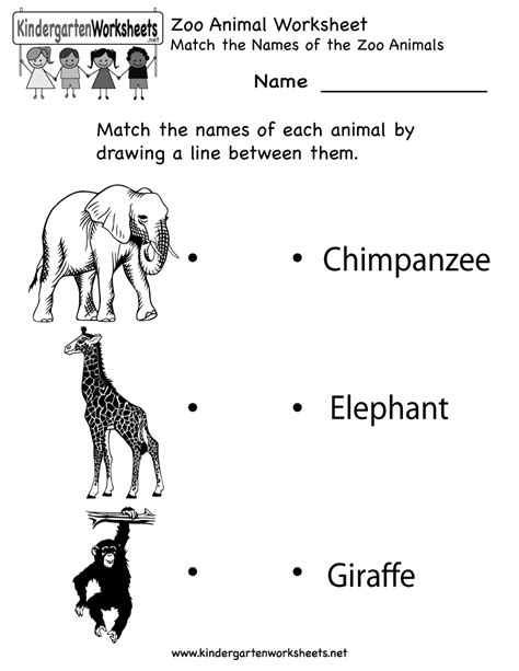kindergarten zoo animal worksheet printable worksheets