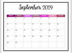 September 2019 Printable Calendar printable yearly calendar