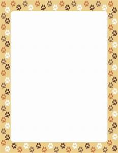A border featuring dog paw prints on a tan background ...