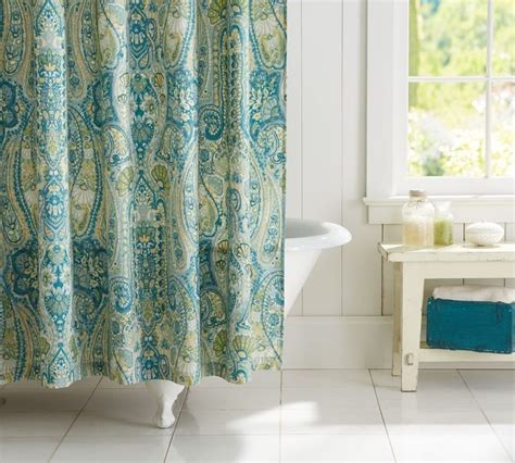 pottery barn rosalie paisley shower curtain blue brand new