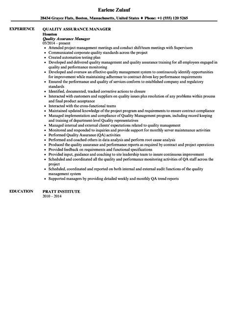 Quality Manager Resume by Quality Assurance Manager Resume Sle Velvet