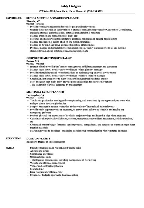 Meeting Resume Samples | Velvet Jobs