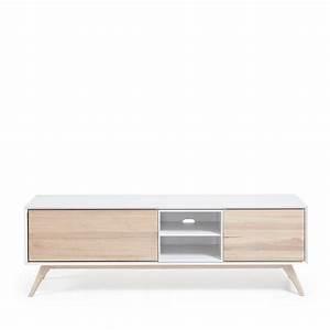 Meuble Bois Et Blanc : meuble tv design bois de fr ne portes battantes josh by drawer ~ Teatrodelosmanantiales.com Idées de Décoration