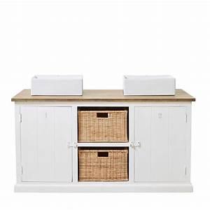 meuble 2 vasques en manguier massif blanc l147cm With meuble en manguier massif