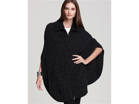 Dkny Knit Poncho With Front Zipper In Gray