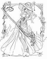 Coloring Witch Halloween Adults sketch template
