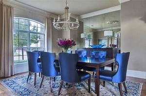 Blue dining room chairs upholstery black wood decorspotnet for Blue dining room furniture