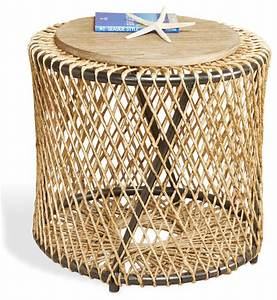 Saranda beach style wood rope round end side table for Round rope coffee table