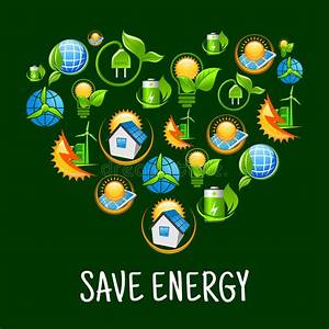 Eco Heart With Icons Of Save Energy  Green Power Stock Vector