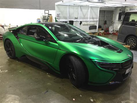 matte green matte green chrome bmw i8 by impressive wrap